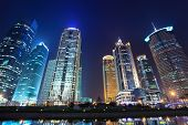 Modern Buildings In Night Shanghai