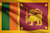 Series Of Ruffled Flags. Democratic Socialist Republic Of Sri Lanka.
