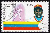 Postage Stamp Nicaragua 1984 Adalberto Herrera, Baseball Player, Venezuela