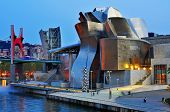 BILBAO, SPAIN - NOVEMBER 14: The Guggenheim Museum and the estuary at evening on November 14, 2012 i