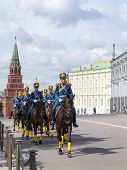 The soldiers of the presidential regiment in Moscow
