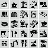 Construction, building materials, construction equipment icons
