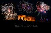 stock photo of akropolis  - Griechischer Tempel in Agrigento Sizilien Italien bei Nacht mit Feuerwerk - JPG