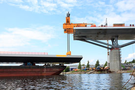 picture of flatboat  - bridge lift from the bay from a barge