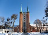 Cathedral Oliwa In Winter, Poland.