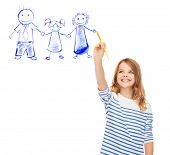 education, school and imaginary screen concept - cute little girl drawing with brush family portrait