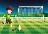 Illustration of a soccer player kicking the ball with the flag of Ireland