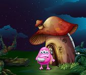 Illustration of an injured pink monster near the mushroom house