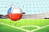 Illustration of a ball hitting a goal with the flag of Chile