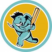 image of cricket bat  - Illustration of an african elephant batting with cricket bat done in cartoon style on isolated white background - JPG