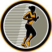 Female Marathon Runner Side View Retro
