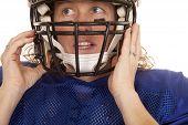 Woman Football Player Helmet