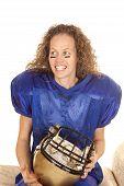 Woman Hold Football Helmet Look Side