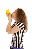 Woman Referee Kiss Yellow Flag