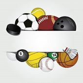 image of pool ball  - vector icon set of various sport balls - JPG