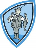 stock photo of fly rod  - Illustration of a fly fisherman showing fish fatch holding rod and reel done in cartoon style set inside shield crest - JPG