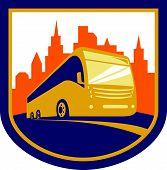 Tourist Coach Shuttle Bus Retro