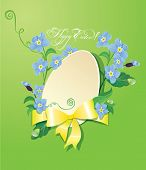 Easter Greeting Card With Paper Egg, Ribbon And Forget Me Not Spring Flowers