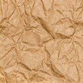 Crumpled Paper Texture Background. Craft Paper Sheet, Brown Color. Texture Of Crumpled Paper.
