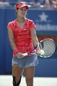 Grand Slam champion Na Li during quarterfinal match at US Open 2013
