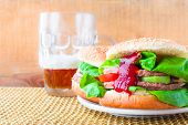 Homemade Grilled Hamburgers with Cold Beer