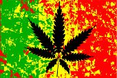 pic of rastafari  - Rastafarian flag with abstract FX and leaf in black - JPG