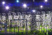 lectric substation in night-time lighting