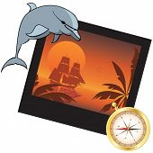 Dolphin, Compass And  Photoframe