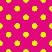 Seamless vector pattern or texture with neon yellow polka dots on pink background.
