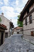View Of Paved Walkway With Traditional Bulgarian Architecture From Bansko, Bulgaria