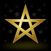 stock photo of pentagram  - Mystery Gold Pentagram On The Dark Background - JPG
