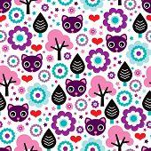 Seamless cute little kitten kids cat illustration with flowers background pattern in vector