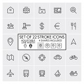 Stroke design icons set 6 / Real estate + navigation + transportation + etc. / Adjustable line width