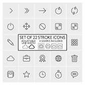 Stroke design icons set 2 / Arrows + interface + etc. / Adjustable line width + 4 button shapes incl
