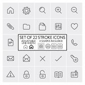 Stroke design icons set 1 / General + files + mail + etc. / Adjustable line width + 4 button shapes included / Check out the other parts of set