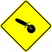 pizza cutter sign
