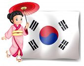 Illustration of a South Korean girl beside their flag on a white background