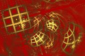 Abstraction with a golden pattern of Chinese style on a scarlet background