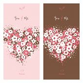 Love Cards With Flower Heart