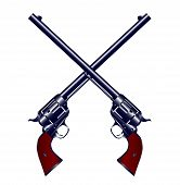 stock photo of wrangler  - Two long barel six guns crossed set on a white background - JPG