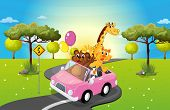 Illustration of a pink car travelling with animals