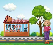 Illustration of an old woman near the butcher house