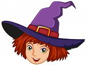 Illustration of a smiling witch with a purple hat on a white background