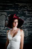 Bride wearing a hat
