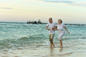 Amusing elderly couple on a beach