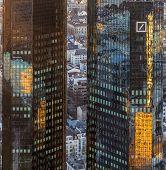 Twint Owers Of Deutsche Bank In Sunset, Frankfurt
