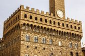 The Clock Tower Of Palazzo Vecchio In Signoria Square, Florence, Italy