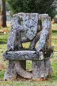 Unusual Empty Chair gravestone in a cemetery