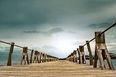 Wooden Gangway And Sky Background