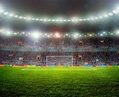 stock photo of arena  - Soccer ball on the field of stadium with light - JPG